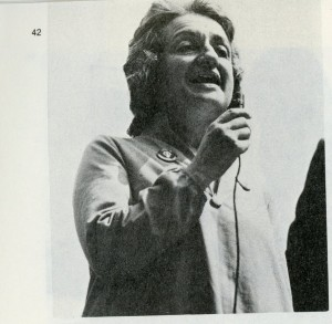 Betty Friedan speaks at the NYC rally Cred.: The Sisterhood by Marcia Cohen